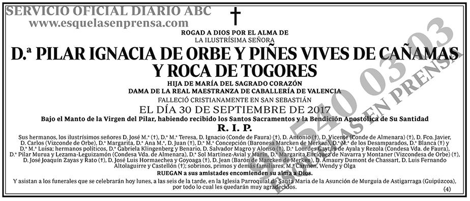 Pilar Ignacia de Orbe y Piñes Vives de Cañamas y Roca de Togores